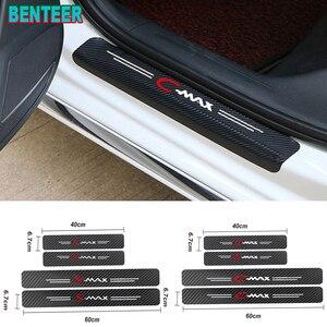 4pcs/lot NEW Carbon Fiber Car Door Sills Protector Stickers for Ford Smax Cmax(China)