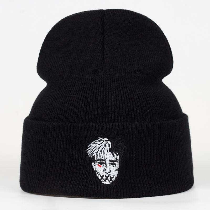 Winter Hip Hop Embroidery Xxxtentacion Hat For Men Punk Elastric Soft Solid Knitted Cap Skullies Beanie For Unisex