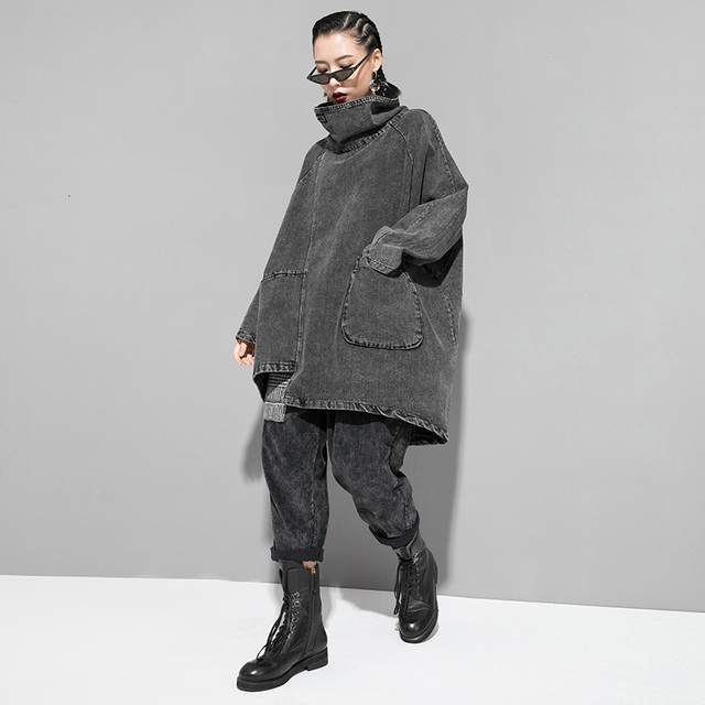 [EAM] Loose Fit Black Denim Oversized Sweatshirt New High Collar Long Sleeve Women Big Size Fashion Spring Autumn 2021 1K166 2