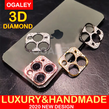 Coque de protection pour appareil photo, effet diamant 3D, pour iPhone 12 Pro Max 12 Mini, coque scintillante, cristal, objectif, pour iPhone 11 12 Pro Max 2