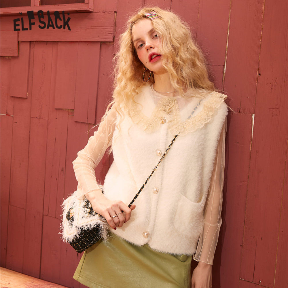 ELFSACK Multicolor Solid Velvet Casual Women Sweater Vest 2020 Spring Pure Single Pearls Button Sleeveless Knit Ladies Basic Top