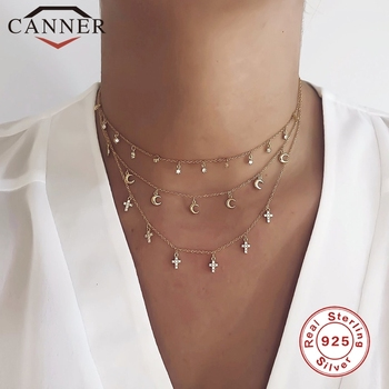 CANNER 100% Real 925 Sterling Silver Mini Zircon Clavicle Chain Round Choker Necklace For Women Minimalist Fine Jewelry collares roxi minimalist small round pendant necklace women 925 sterling silver necklace geometric karma circle necklace choker collares