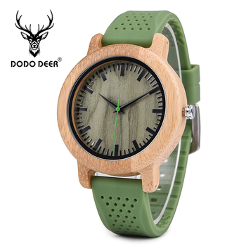 DODO DEER, funda de madera bambú con banda de silicona de calidad a la moda, marca Quartz, tus propios relojes, regalos para hombres, triangulación de envíos, B11