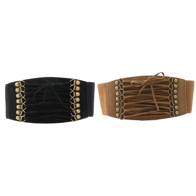 Women Elastic Buckle Wide/Tassel Waistband Retro Lady Corset Stretch Waist Belt