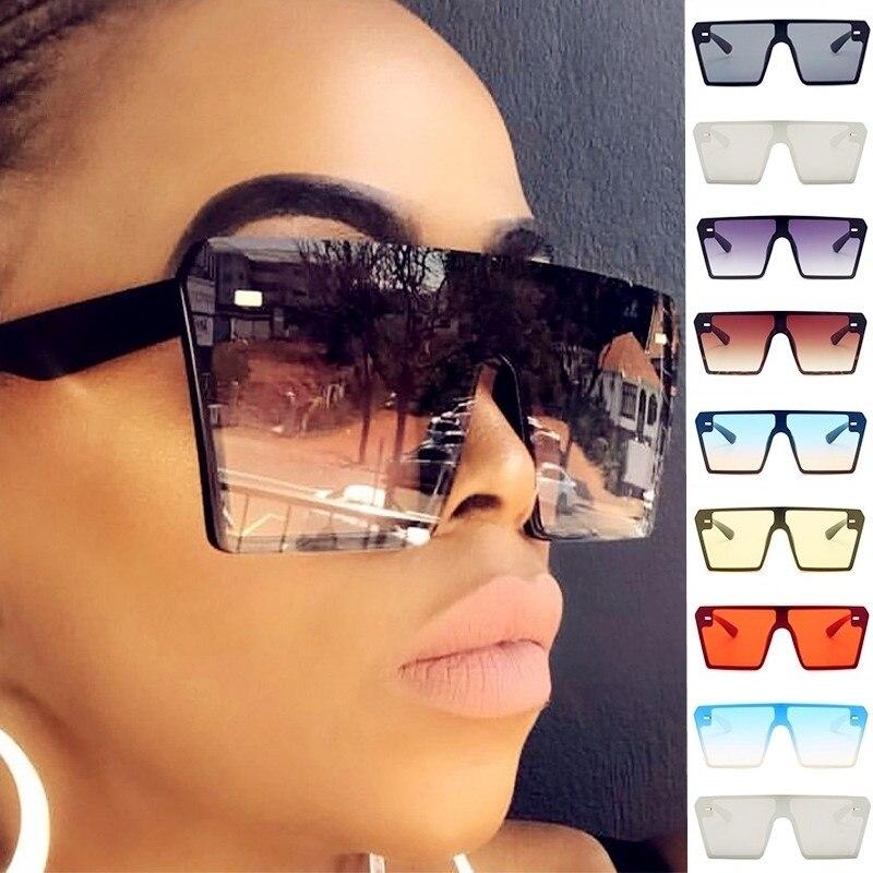 2020 Oversized Vintage Gradient Sunglasses UV400 Women Big Frame Mirror Shades Sun Glasses Female Square Eyewear