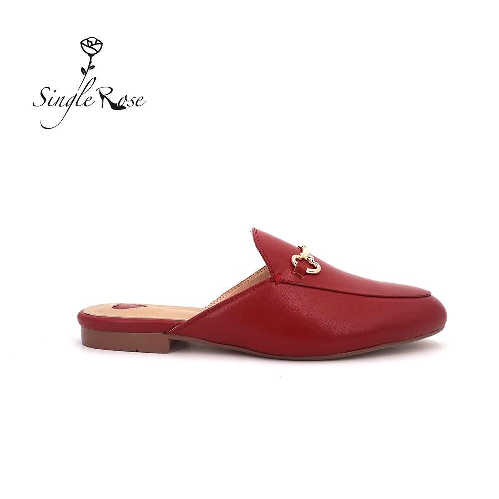Unique Rose mode grande taille femmes pantoufles en cuir femmes pantoufles chaussures noir sans lacet mocassins réel semelle souple chaussures plates T2