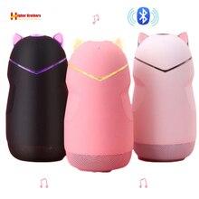 Di Động Loa Bluetooth Mini Không Dây Bluetooth 4.2 32G Hình Mèo Loa Hỗ Trợ Handfree Thẻ TF Chơi Có Đèn Led
