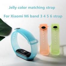 Transparent Jelly color Strap For XiaoMi Mi Band 6 5 4 3 Astronaut graffiti Silicone wristband For XiaoMi Mi Band 4 5 6 Bracelet