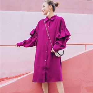 Image 2 - LANMREM Rose Red Lapel Long Sleeve Ruffled Waistband Single breasted Loose Plus Woman Dress Casual Fashion 2020 autumn New TV534