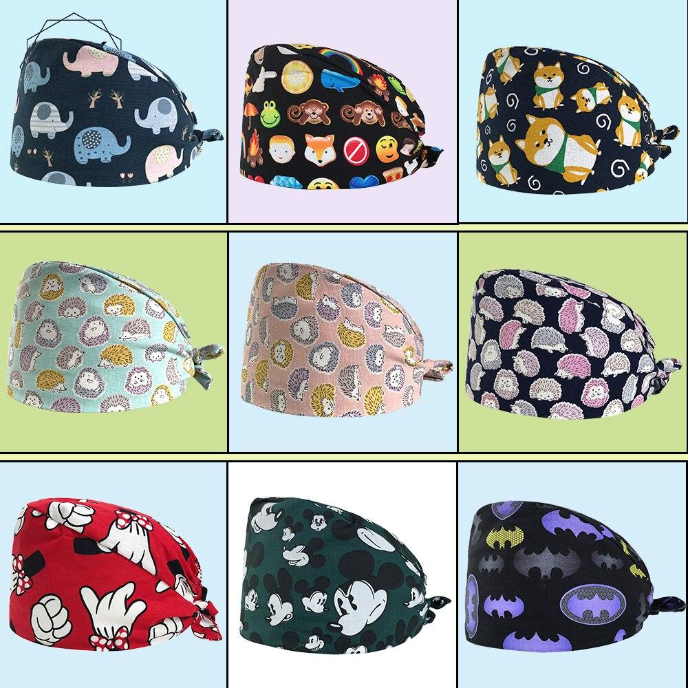 Hedgehog Printing Scrub Hats Women Men Surgical Medical Beauty Salon Cap Nurse And Doctor 100% Cotton Skull Tieback Hats Pet Hat