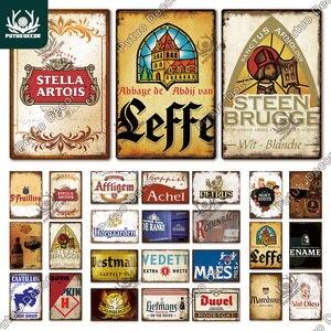 Putuo Decor Belgium Beer Vintage Tin Sign Metal Sign Decorative Plaque Wall Decor Pub Bar Man Cave Club Decoration