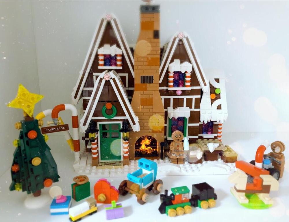 2019  Christmas Gingerbread House For Legoinglys 10267 Winter Village Holiday Scene Girl Friends Figure Building Blocks Toys
