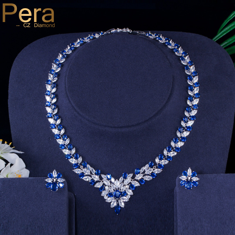 Pera CZ Elegant Royal Stone Bridal Wedding Accessories Big Marquise Shape Blue Cubic Zirconia Jewelry Sets