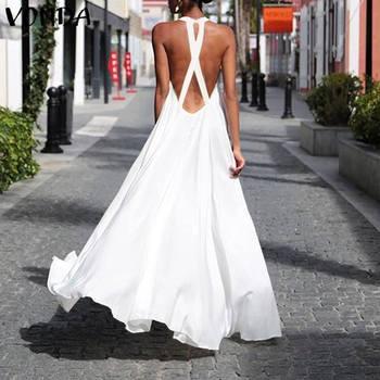 Summer Dress 2020 VONDA Boheiman Maxi Long Dress Sexy Sleeveless Backless Party Vestidos Beach Holiday Casual Sundress Plus Size цена 2017