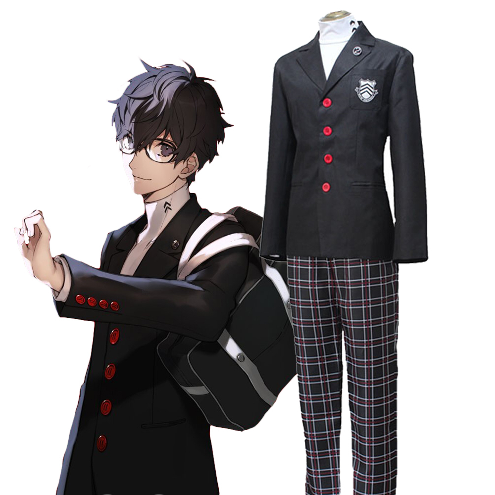 Cosplay Costume for Persona 5 Joker Akira Kurusu School Uniform:Free shipping