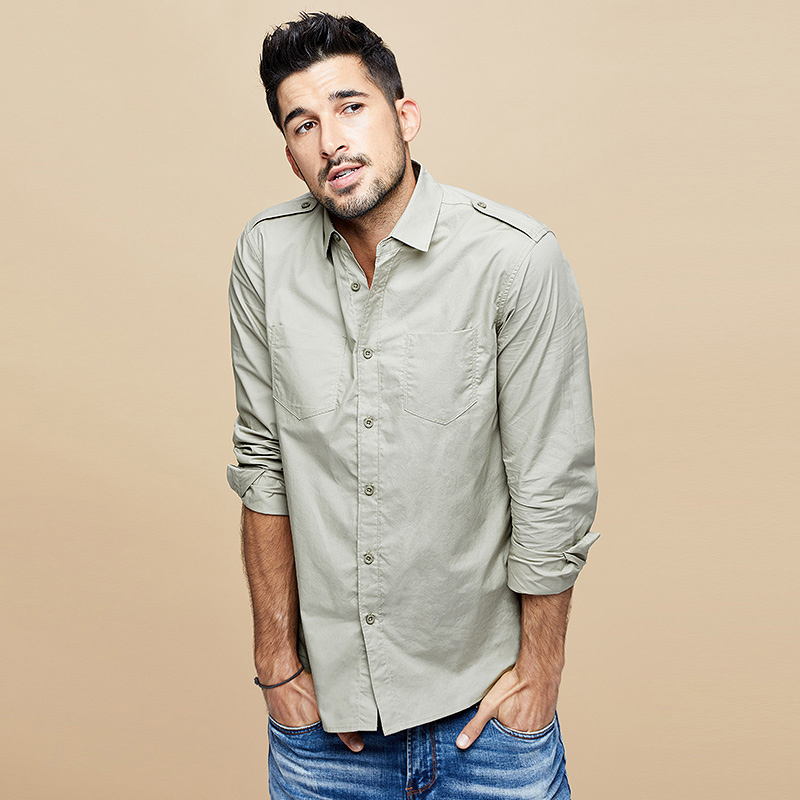 Kuegou 2020 Men Long Sleeve Shirt Male Autumn Tide Pocket Tooling More Shirts Men's Cotton Shirt  BC-6178