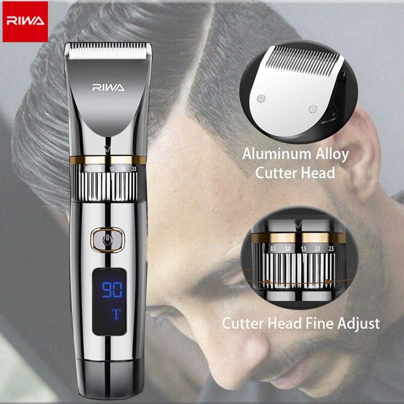 Riwa barbeiro máquina de cortar cabelo sem fio profissional aparador de barbeiro para o homem máquina de cortar cabelo elétrica conjunto completo aparador de cabelo