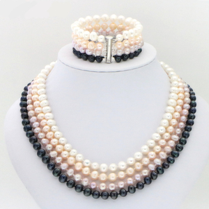 Image 5 - Hot new fashion style Noblest 4rows 6 7mm black pearl shell necklace bracelet earring sets Jewelry sets Mothers Day gifts W0172