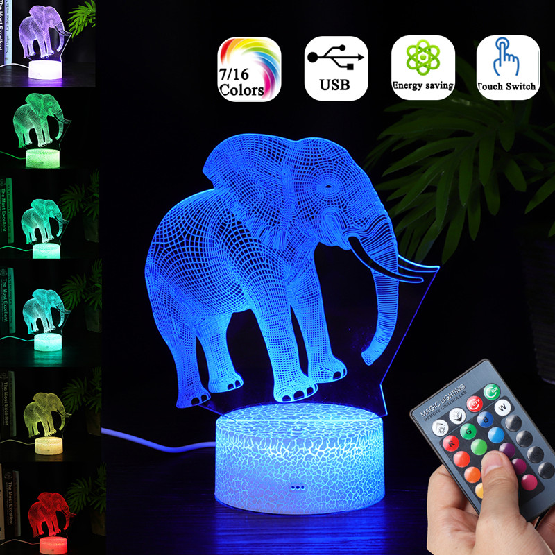 Elephant Model Remote Control Touch Switch 3D Acrylic LED 7/16 Colors Colorful Light Christmas Gift Night Light Childrens Gifts