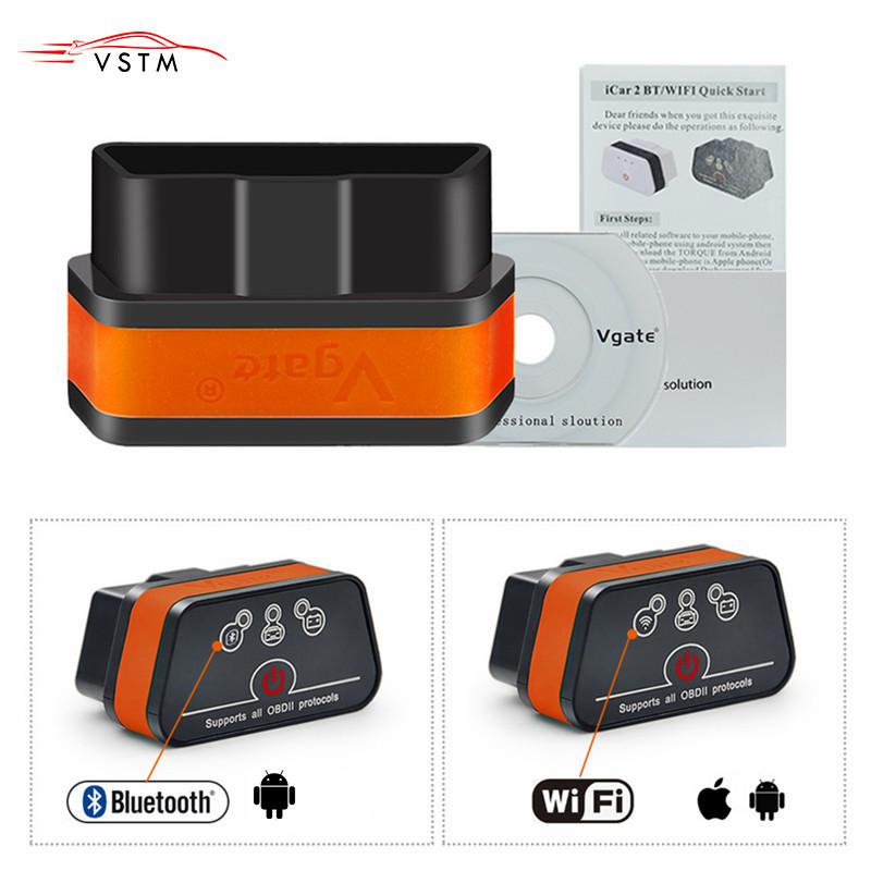 Vgate iCar 2 OBDII diagnostics auto Code Reader ELM327 Wifi Bluetooth for IOS iPhone Android Icar2 wifi ELM327 OBD2