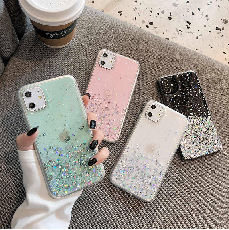 Moskado Transparan Bintang Glitter Bling Payet Case untuk iPhone 11 Pro X XR X MAX 7 8 6 6 S plus Soft TPU Silicone Back Cover
