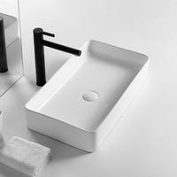 Bathroom Sink Ceramic White Square Wash Basin Countertop Sinks Drainer Nordic Ceramic Washbasin Art Basin Shampoo Bowl