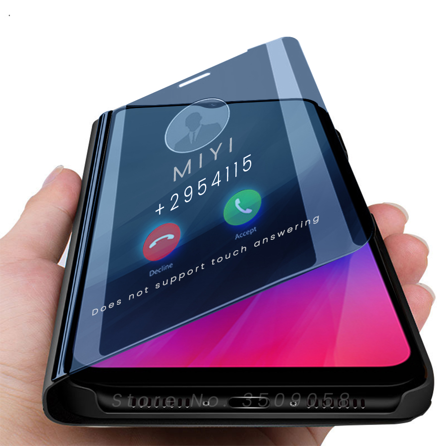 for realme c3 case smart mirror flip covers case for oppo realme realmi realmy raelme c3 c 3 3c 6.5'' magnetic book coque