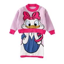 Kids Christmas Outfits Winter Sweater Top&skirt Cartoon Duck Embroidery Cute Girls Clothign Girls Fall Costume Toddler Girl