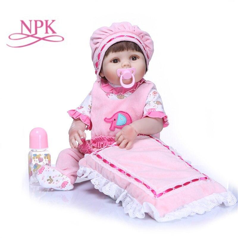 NPK 57cm Baby Reborn Doll Silicone Full Body Bebe Doll Kids Playmate Toys for Girls Lifelike Soft Doll Bebe Reborn Photo Props-in Dolls from Toys & Hobbies    1