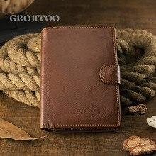 GROJITOO Handmade artistic vertical cowhide wallet men's short large capacity soft leather wallet simple buckle wallet