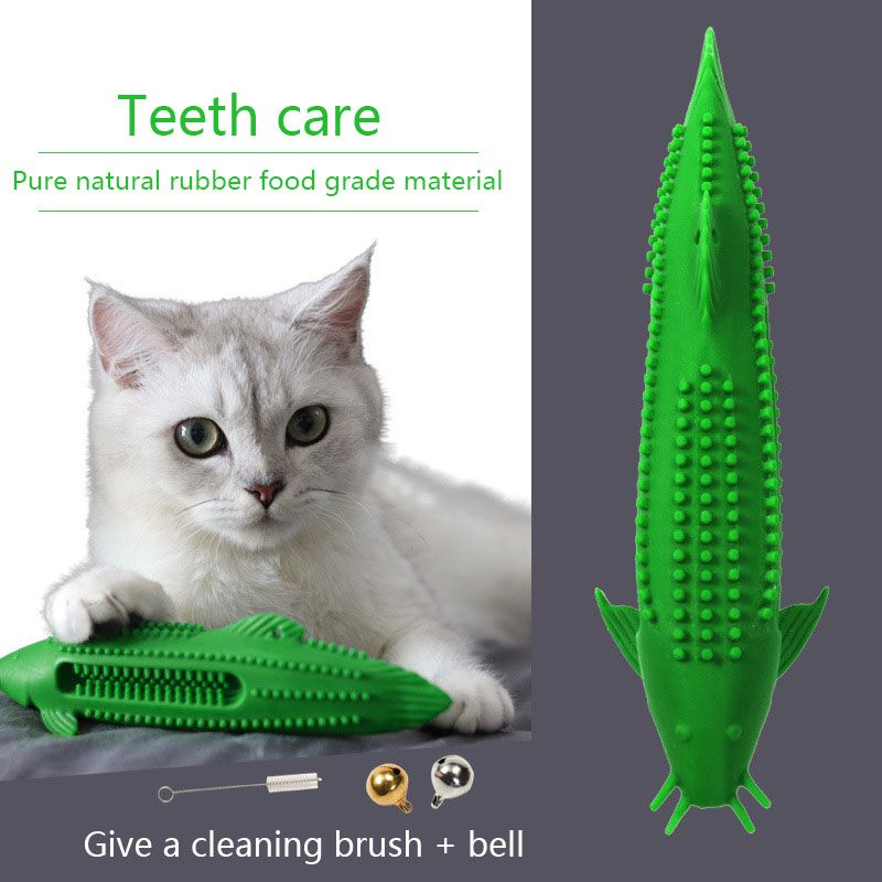 Patented Cat Chew Toy Kitten Molar Teeth Cleaning Silicone Fish Shape Kitty Toothbrush Kitten Catnip Snags Treat Feeder image