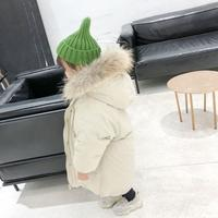 Winter Baby Boy and Girl Clothes Clothing Pure color Hooded cap down filled coat Hair collar cute Warm jacket 2 6 years old