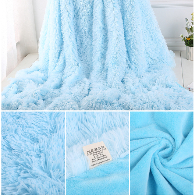 160x200CM Super Soft Shaggy Fur Double-layer Plush Blanket Fuzzy Cozy With Fluffy Sherpa Throw Blankets Bed Coral Blanket 5