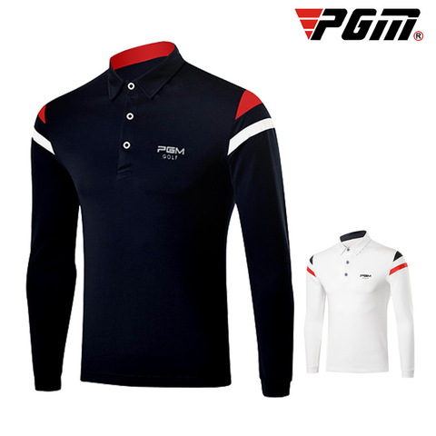 PGM 2019 Autumn Dry Fit Men Golf Shirts Long Sleeve Breathable Tshirts Turn Down Collar Golf Clothing Men Table Tennis Shirt Pakistan