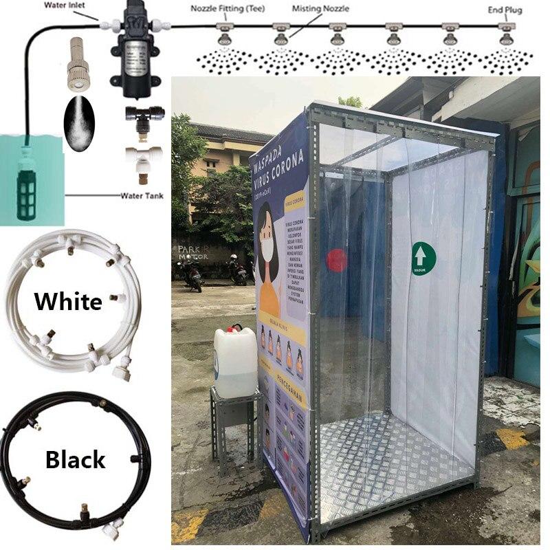 Rociador de niebla de agua para cabina de esterilización y Aire Libre nebulizador bomba sistema de nebulización 6M 9M 12M 15M 18M Slip Lock T conectores