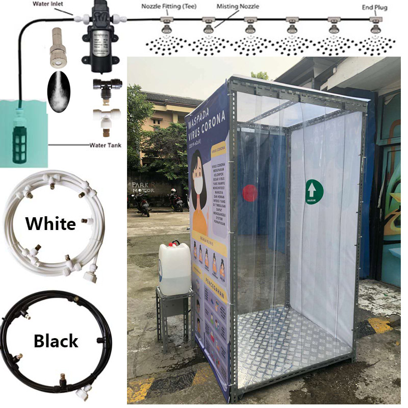 Water Mist Spray For Booth Sterilizing And Outdoor Nebulizer Pump Misting system Kit 6M  9M 12M 15M 18M Slip Lock T connectors