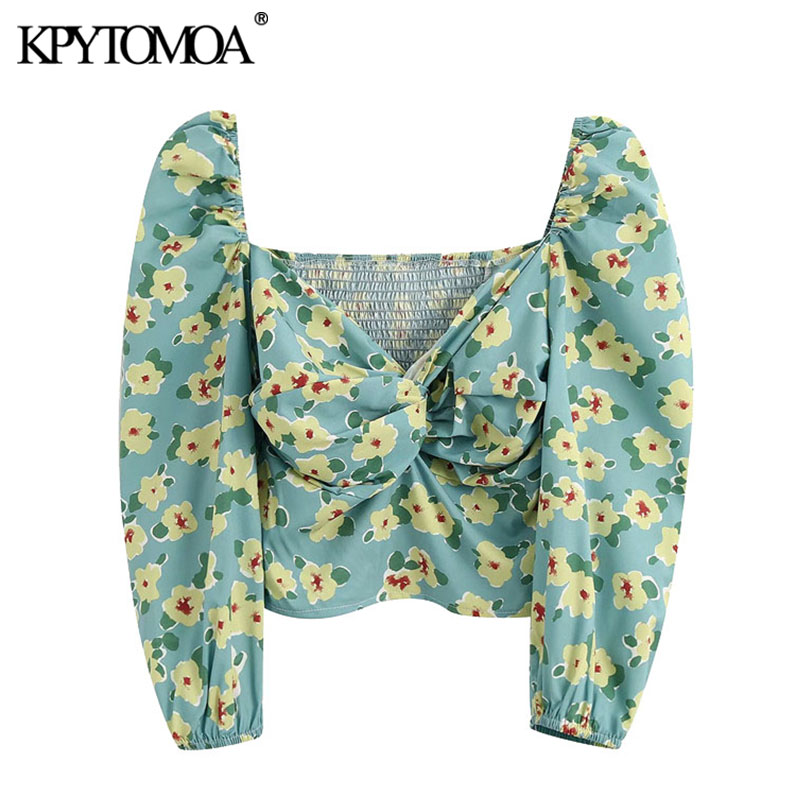 KPYTOMOA Women 2020 Fashion Floral Print Draped Cropped Blouses Vintage Puff Sleeve Back Elastic Female Shirts Blusas Chic Tops