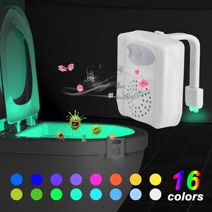 Luz LED para asiento de inodoro, luz nocturna, Sensor de movimiento, luz para WC, lámpara cambiable de 16 colores, retroiluminación con pilas AAA para inodoro y niños