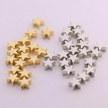 200pcs/lot 6*6mm Inside Hole 1mm CCB Gold Silver Color Star Spacer Beads End Caps Beads DIY Jewelry Making Findings Charm Beads 1