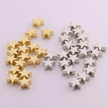 200 teile los 6*6mm Innen Loch 1mm CCB Gold Silber Farbe Stern Spacer Perlen End Caps Perlen DIY Schmuck Die Entdeckungen Charme Perlen cheap lacoogh CN (Herkunft) NONE Kunststoff Beads Runde Form 12mm Mode T0438 spacer beads beads for jewelry making Gold silver tone