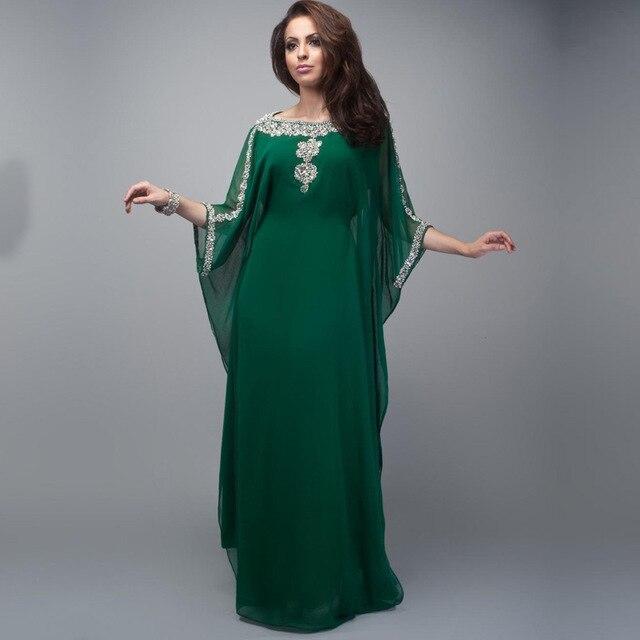Caftan 2020 New Dark Green Beaded Dubai Chiffon Evening Dresses Half Sleeve Abayas Saudi Arabia Mother Of The Bride Dresses