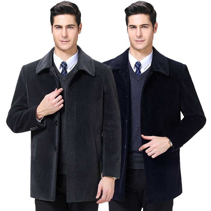 2019 NEW Men's woolen jackets lapel wool coat new casual jacket for men coat parka Faux velvet jacket 4XL large size