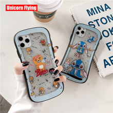 LinXiang Cartoon Cute Ryan Bear Lovely Stitch Clear Glass Phone Case Cover