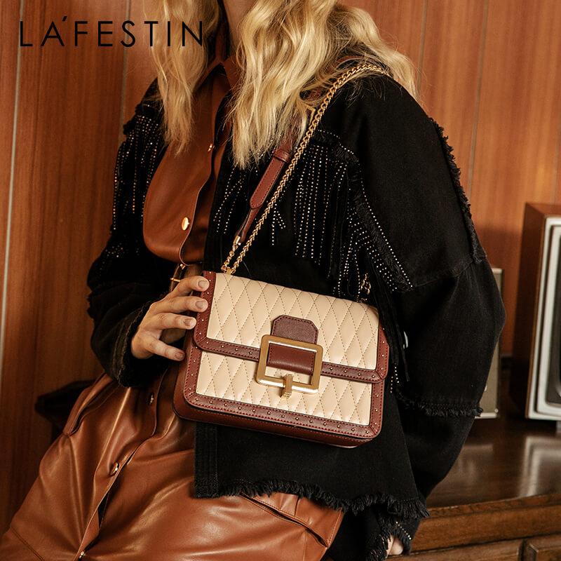 LAFESTIN 2019 new chain organ design women bag Retro shoulder Messenger bags fashion small square bag