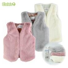 SLAIXIU жилеты для малышей; Пальто с искусственным мехом; жилеты для девочек; детская безрукавка; colete; куртка; Верхняя одежда; детская одежда