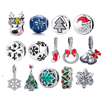 BISAER 925 Sterling Silver Christmas Charms Snowflakes Snowman Christmas Tree Beads fit Beads for Silver 925 Jewelry Making tree of life 925 sterling silver tree of life family tree charms beads fit bisaer charm bracelet diy beads 925 silver jewelry