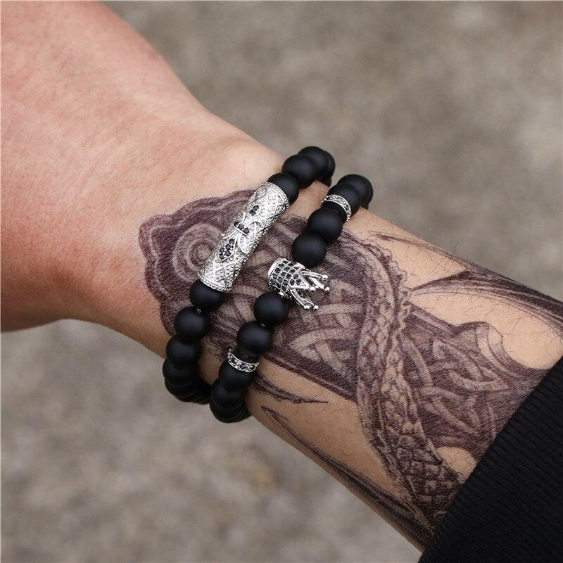 Women Men 3Pcs Sets Adjustable Bracelet Braided Natural Hematite Stone Geometry Bead Bracelet Bangles Sets Pulseira