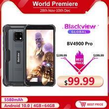 Blackview BV4900 Pro 5580mAh IP68 wodoodporny wytrzymały smartfon 5 7 #8221 4GB 64GB Android 10 0 Octa Core telefon komórkowy NFC tanie tanio Nie odpinany CN (pochodzenie) Rozpoznawania twarzy Inne 13 1MP Nonsupport Smartfony Pojemnościowy ekran Angielski Rosyjski