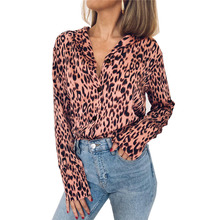 Striped Blouse Women Chiffon Shirt Female Pink Leopard Long Sleeve Casual Top Sexy Club Autumn Party