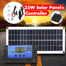 12V 25W Dual USB Solar Panel with Car Charger Output 10/20/30/40/50A USB Solar Charger Controller for Outdoor LED Light Camping